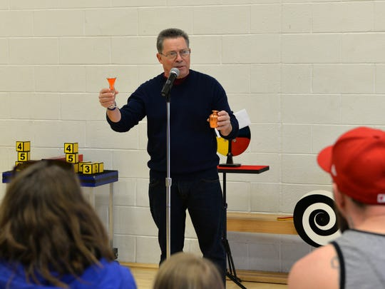 Magician Barry Yiengst performs a feat of magic at the Lebanon Valley YMCA on Saturday, March 12, 2016 as part of Healthy Kids Day.