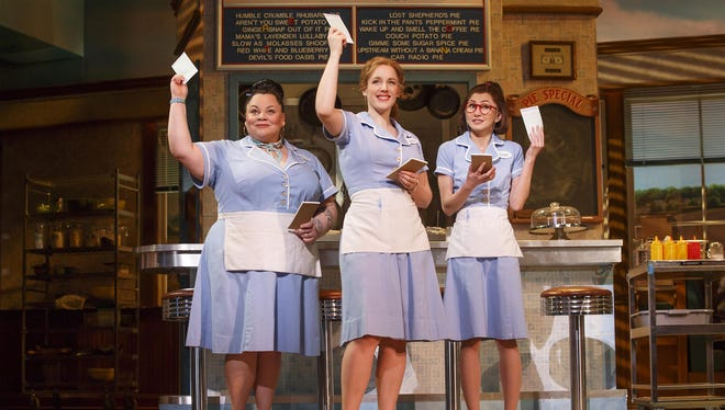 "Keala Settle (left to right), Jessie Mueller and Kimiko Glenn in ""Waitress."""
