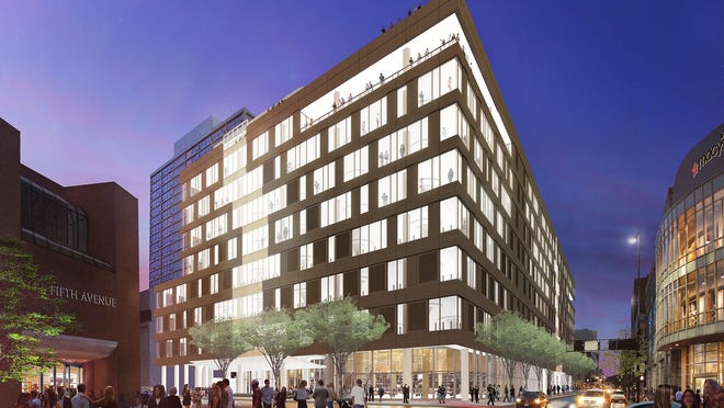 How the nine-story dunnhumby centre, under construction at Fifth and Race streets Downtown, will look when completed. About 500 former dunnhumbyUSA will become employees of the independently operated Kroger subsidiary and Kroger will assume ownership of the building.