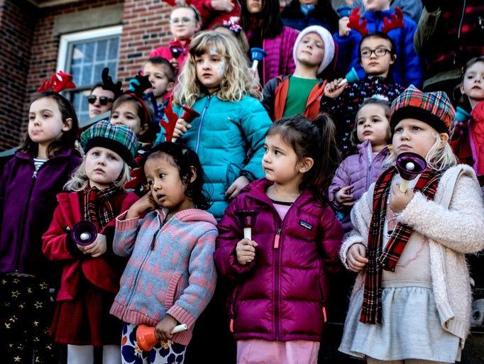 The Welsh Hills School Handbell Choir performs carols