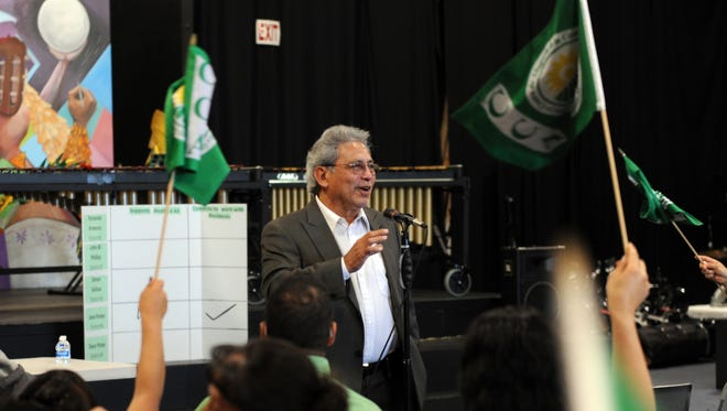 "Executive Director Juan Uranga of the Center for Community Advocacy speaks to District 1 residents at the ""#Health4All"" forum at the Alisal Center for the Fine Arts in Salinas on Sunday."