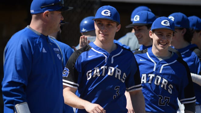 Gateway pitcher Kevin Teschko smiles after throwing a 5-inning no-hitter in a 13-0 victory over Gloucester on Saturday.