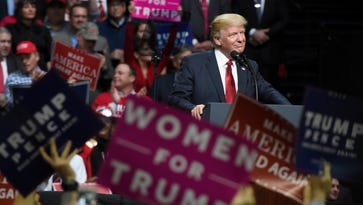 President Donald Trump speaks to the rally at Municipal Auditorium  Wednesday, March 15, 2017 in Nashville, Tenn.