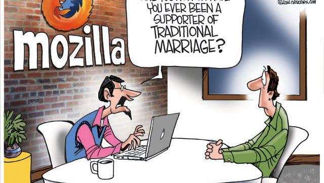 Brendan Eich was pressured to resign as CEO of Mozilla when it was discovered that in 2008, he supported California's ban on gay marriage.