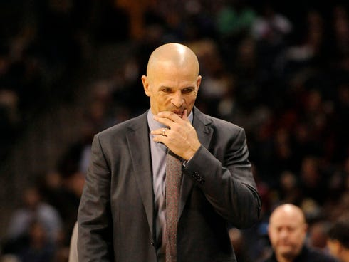 Nov 20, 2013; Charlotte, NC, USA; Brooklyn Nets head coach Jason Kidd reacts during the game against the Charlotte Bobcats at Time Warner Cable Arena. Bobcats win 95-91. Mandatory Credit: Sam Sharpe-USA TODAY Sports