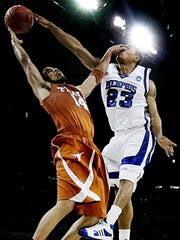 March 30, 2008 - Memphis' Derrick Rose, right, blocks