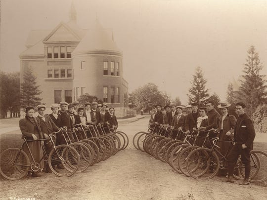 "An 1898 photo of the Iowa State College Bicycle Club, from ""Campus Beautiful,"" a new book about the school's history."