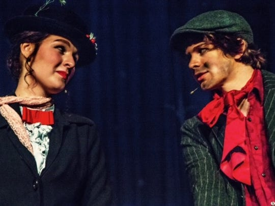 """Off the Square Theatre's production of """"Mary Poppins"""" features  Phynley Joel as Mary Poppins and Asher Pope as Bert."""