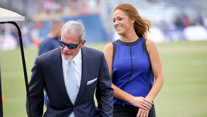 Indianapolis Colts owner Jim Irsay and Jami Martin during Colts training camp in July.