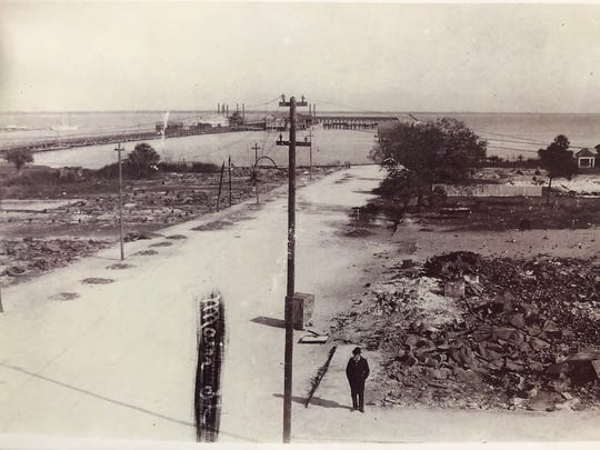 A desolate downtown Titusville after a fire burned down 42 structures in 1895.