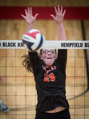 Palmyra's Natasha Bucy plays defense against Garden Spot during the 3A district girls volleyball semifinal at Hempfield High School Thursday night, Nov. 2.