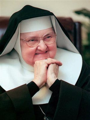 Mother Angelica, shown March 2, 1999, is both Mother Abbess of the Lady of Angels Monastery in Irondale, Ala., as well as chairman of the board or the Eternal Word Television Network.  Angelica, a folksy Roman Catholic nun who used a monastery garage to begin a television ministry that grew into a global religious media empire, had died. She was 92.