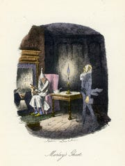 """Marley's ghost, illustrated by John Leech in the first edition of Charles Dickens' """"A Christmas Carol"""""""