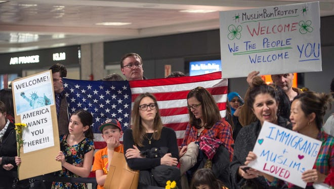 Protesters at Washington Dulles International Airport on Jan. 28, 2017.