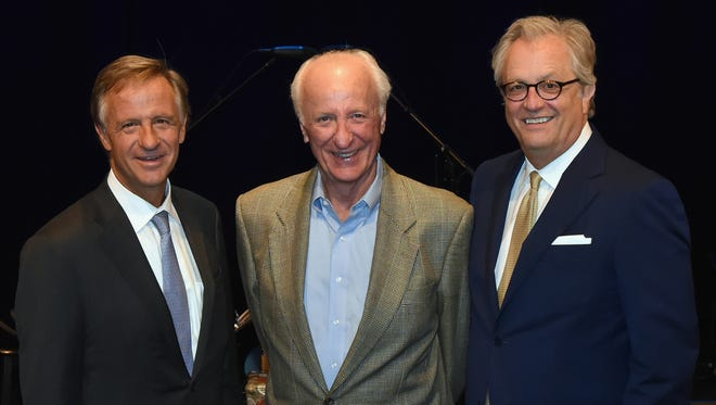 Governor Bill Haslam, songwriter Bob McDill, Country Music Hall of Fame and Museum CEO Kyle Young at the Hall of Fame July 31, 2017.