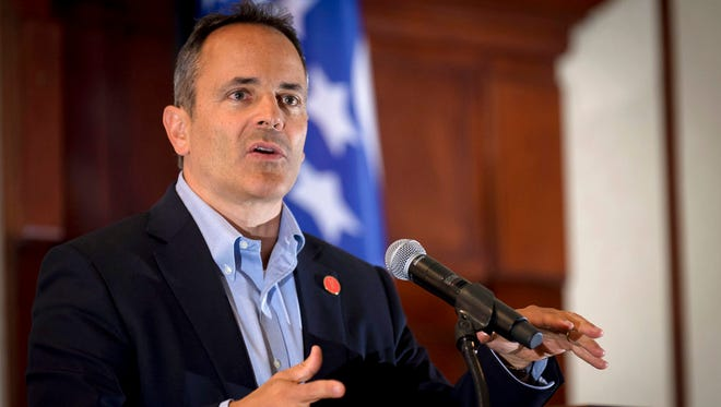 Kentucky Gov. Matt Bevin speaks to supporters gathered at The Champions of Liberty Rally in Hebron, Ky., Aug 11, 2017. Bevin was joined at the fundraising event by Sen. Rand Paul, R-Ky, and U.S. Reps. Thomas Massie, R-Ky., and Jim Jordan, R-Ohio.