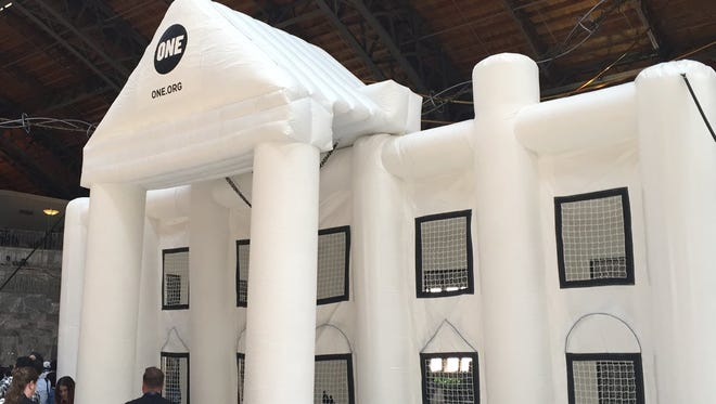 What's a political convention without a White House bounce house? This is at the Philadelphia Convention Center.