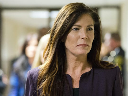 FILE - In this Nov. 10, 2015, file photo, Pennsylvania Attorney General Kathleen Kane departs after her preliminary hearing at the Montgomery County courthouse in Norristown, Pa. Kane was sentenced to 10-23 months in jail and eight years of probation Monday. (AP Photo/Matt Rourke, File)
