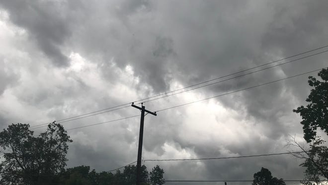 This may look like a black-and-white photo, but it's actually an unfiltered photo of what the clouds looked like when heavy winds rolled into Henderson County Tuesday.