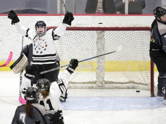 Fond du Lac's Mary Skorupa celebrates after scoring against Capital City during a WIAA state girls hockey semifinal Friday.
