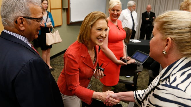 Republican Carly Fiorina greets community leaders and guests Thursday, May 7, 2015 before sitting down with the Des Moines Register editorial board in downtown Des Moines.