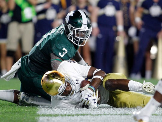 Fumbles, including this one last season in the end zone against Notre Dame, have become a part of LJ Scott's reputation.