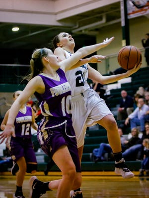 Halle Wisbiski of Williamston draws a foul against Fowlerville's Ollie Updike. Second-ranked Williamston handed Fowlerville its third loss.