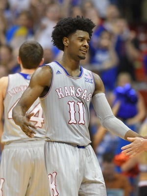 Kansas Jayhawks guard Josh Jackson leaves the court against the TCU on Feb. 22, 2017.