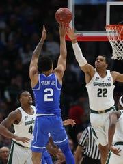 Michigan State's Bridges defends against Duke's Gary