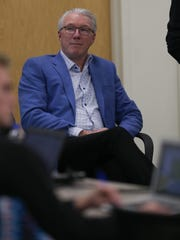 Lions team president Rod Wood listens as general manager Bob Quinn who took questions from reporters concerning the firing of head coach Jim Caldwell on Monday, Jan. 1, 2018, in Allen Park.