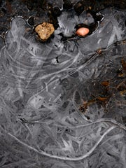 A seeming face is visible in a frozen puddle at the Taylor County Expo Center.