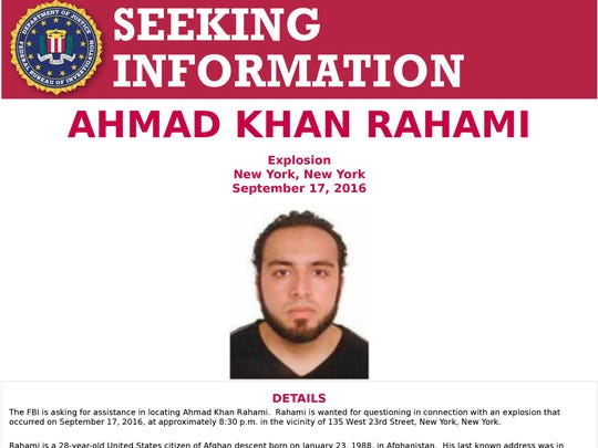 FBI wanted poster seeking information on Ahmad Khan Rahami, 28, who is being sought in connection with the bombing in the Chelsea neighborhood of New York City.