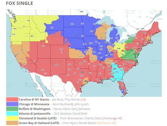 FOX will show the Packers-Raiders games to areas shaded