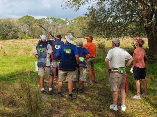 A group of shooters compete Wednesday in the FITASC