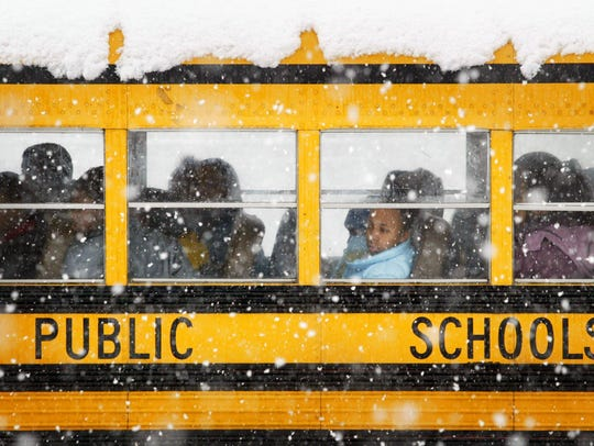 A school bus in snow.