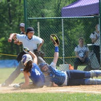 Pine Plains' Makayla Long slides into Chester shortstop Stephanie Green during the Section 9 Class C Championship held at Rhinebeck on Saturday.