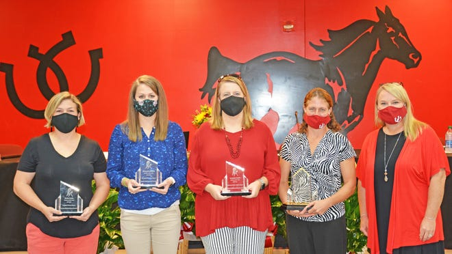 Barnwell District 45 Superintendent Crissie Stapleton (right) recognized the four Teachers of the Year at the Oct. 15 school board meeting. From left to right: Barnwell Primary Teacher of the Year Emily Coble, Barnwell Elementary Teacher of the Year Michaela Mitchell, Guinyard-Butler Middle School Teacher of the Year Mandy Smith, and Barnwell High/Barnwell District 45 Teacher of the Year Keri Schneider.