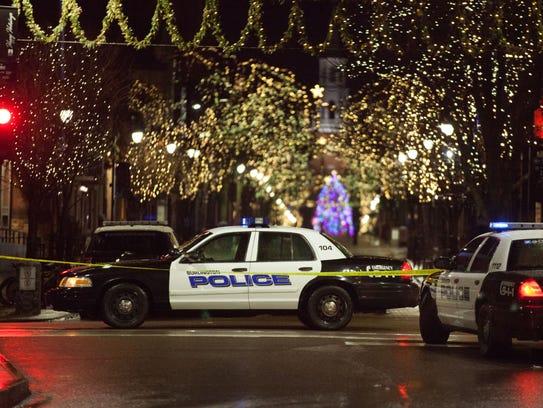 Police cars block lower Church Street in Burlington