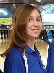 Holy Angels bowler Amelia Brunda.