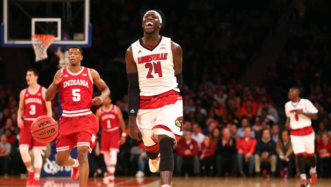 Louisville Cardinals forward Montrezl Harrell (24) reacts against the Indiana Hoosiers during the first half at Madison Square Garden.