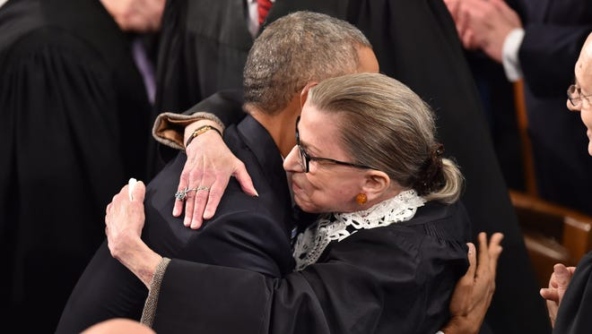 Justice Ruth Bader Ginsburg greets President Barack Obama before his State of the Union address in 2016.