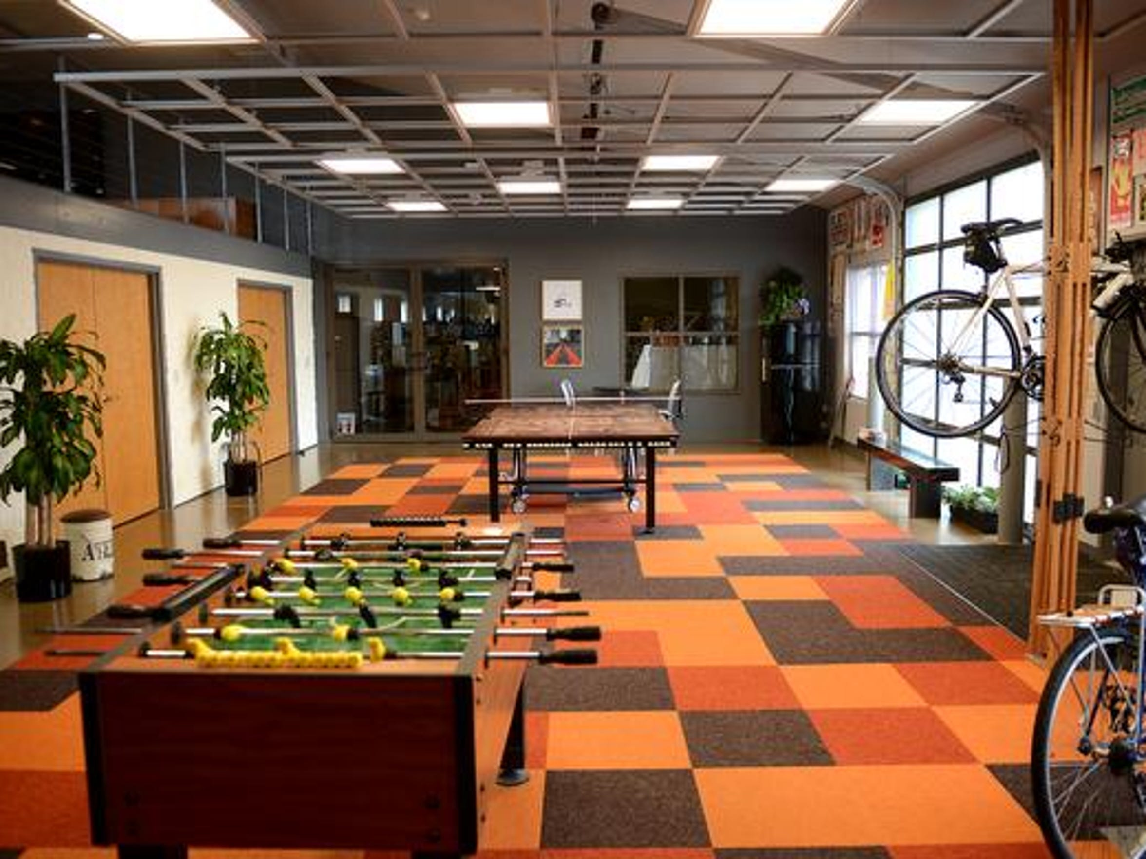 Former warehouse space was converted into a game room