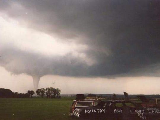 An F5 tornado churns toward Oakfield July 18, 1996,