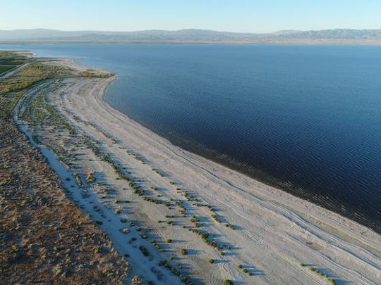 The Salton Sea as seen from a drone's point of view on May 19, 2017.