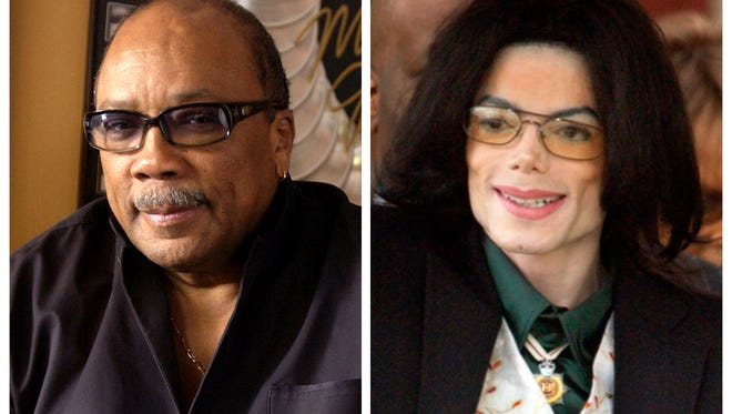 Quincy Jones appears at his home in Los Angeles, Calif., on April 9, 2004, left, and  Michael Jackson arrives to court on March 2, 2005, in Santa Maria, Calif.