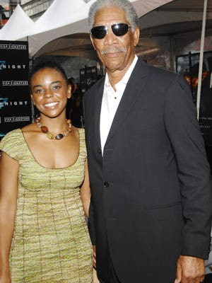 """Actor Morgan Freeman and granddaughter Edina Hines attend the world premiere of """"The Dark Knight"""" in New York on July 14, 2008."""