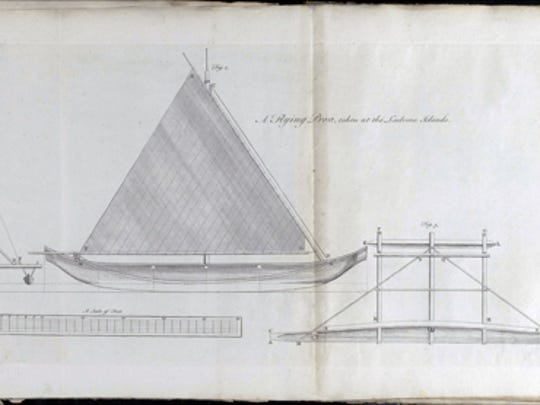 Admiral George Anson's drawing of a Chamorro proa.