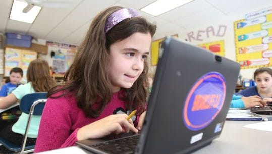 Meggy Mani works on her class assignment at Todd Elementary School in Briarcliff Manor. The district submitted an application for its Smart Schools Investment Plan, but has not yet been approved.