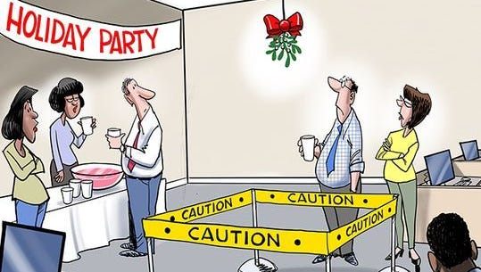 Holiday party caution tape commentary from Gary Varvel