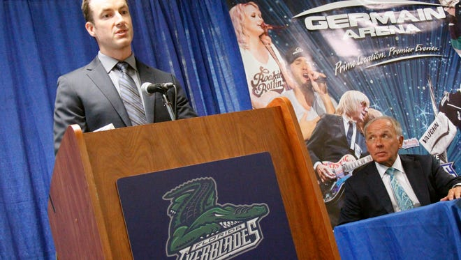 Brad Ralph was introduced as the new head coach of the ECHL Florida Everblades during a press conference at Germain Arena in Estero on Tuesday, July 12, 2016. (J. Scott Butherus/Naples Daily News)